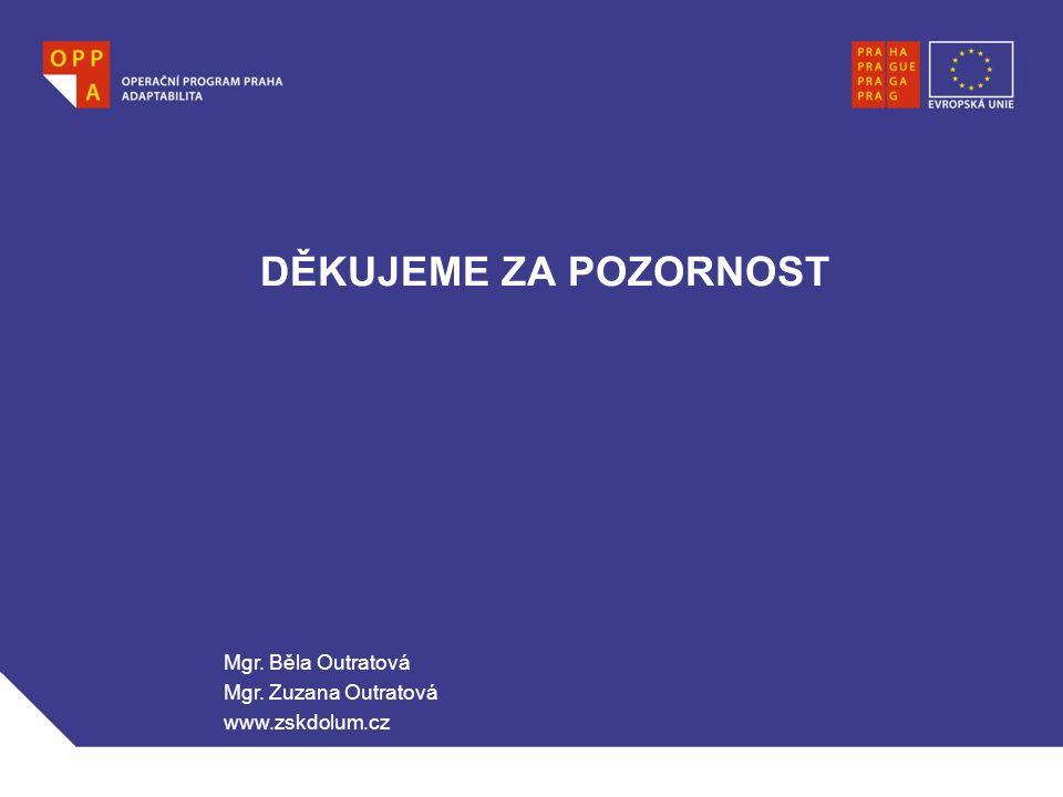 DĚKUJEME ZA POZORNOST Mgr. Běla Outratová Mgr. Zuzana Outratová www.zskdolum.cz