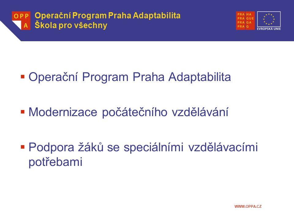 WWW.OPPA.CZ Operační Program Praha Adaptabilita Škola pro všechny  Operační Program Praha Adaptabilita  Modernizace počátečního vzdělávání  Podpora žáků se speciálními vzdělávacími potřebami