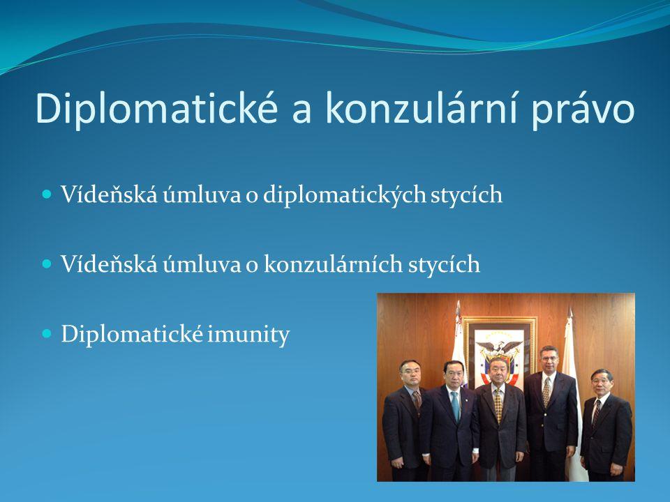 Diplomatické a konzulární právo Vídeňská úmluva o diplomatických stycích Vídeňská úmluva o konzulárních stycích Diplomatické imunity