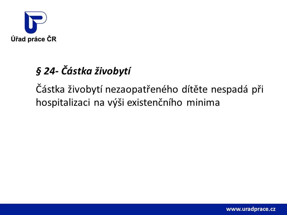 § 24- Částka živobytí Částka živobytí nezaopatřeného dítěte nespadá při hospitalizaci na výši existenčního minima