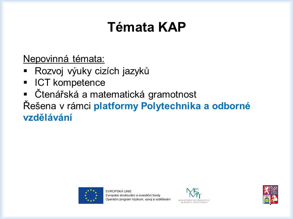Témata KAP Nepovinná témata:  Rozvoj výuky cizích jazyků  ICT kompetence  Čtenářská a matematická gramotnost Řešena v rámci platformy Polytechnika a odborné vzdělávání