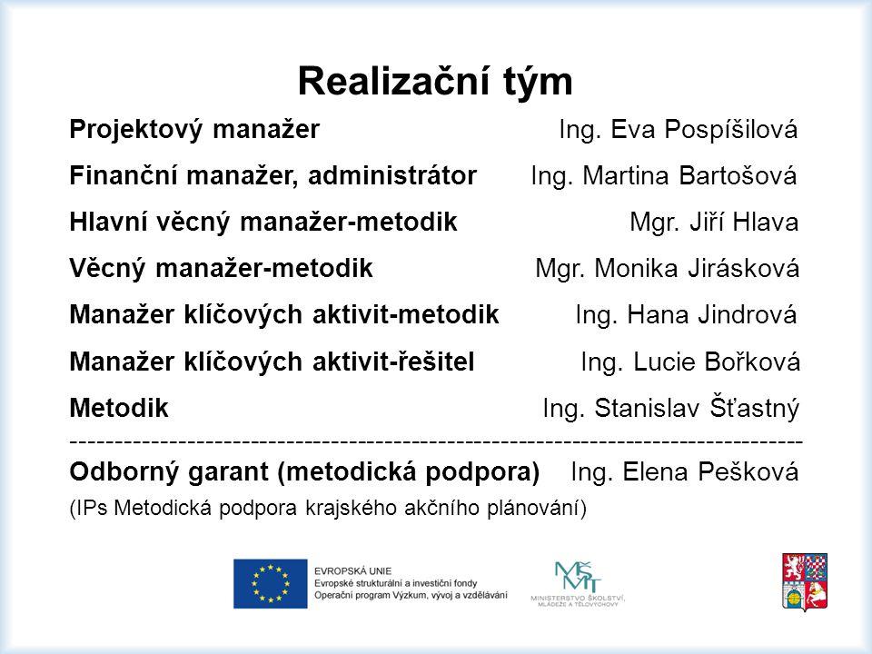 Realizační tým Projektový manažer Ing. Eva Pospíšilová Finanční manažer, administrátor Ing.