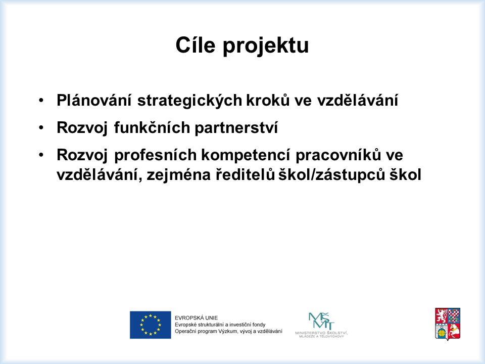 Cíle projektu Plánování strategických kroků ve vzdělávání Rozvoj funkčních partnerství Rozvoj profesních kompetencí pracovníků ve vzdělávání, zejména ředitelů škol/zástupců škol