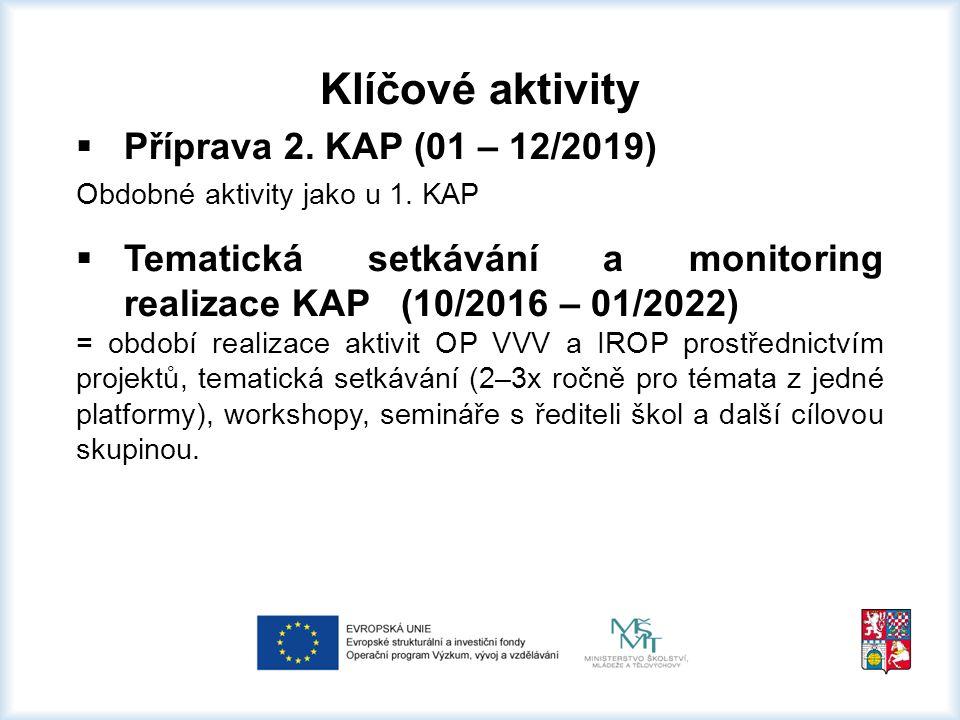 Klíčové aktivity  Evaluace projektu (02/2016 – 01/2022) Hodnocení projektových aktivit, zpracování evaluačních zpráv dle Metodiky ŘO  Řízení projektu (02/2016 – 01/2022) Zajištěno členy administrativního a odborného týmu (projektový manažer = celkové řízení, koordinace aktivit; hlavní věcný manažer-metodik = řízení odborného týmu)  Spolupráce s IPs (02/2016 – 01/2022) Spolupráce s Individuálními projekty systémovými (IPs Metodická podpora KAP, další IPs navázané na projekt KAP – účast na vyžádání ze strany IPs, přenos informací)