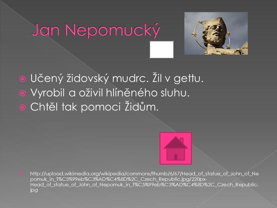  Učený židovský mudrc. Žil v gettu.  Vyrobil a oživil hlíněného sluhu.  Chtěl tak pomoci Židům.  http://upload.wikimedia.org/wikipedia/commons/thu