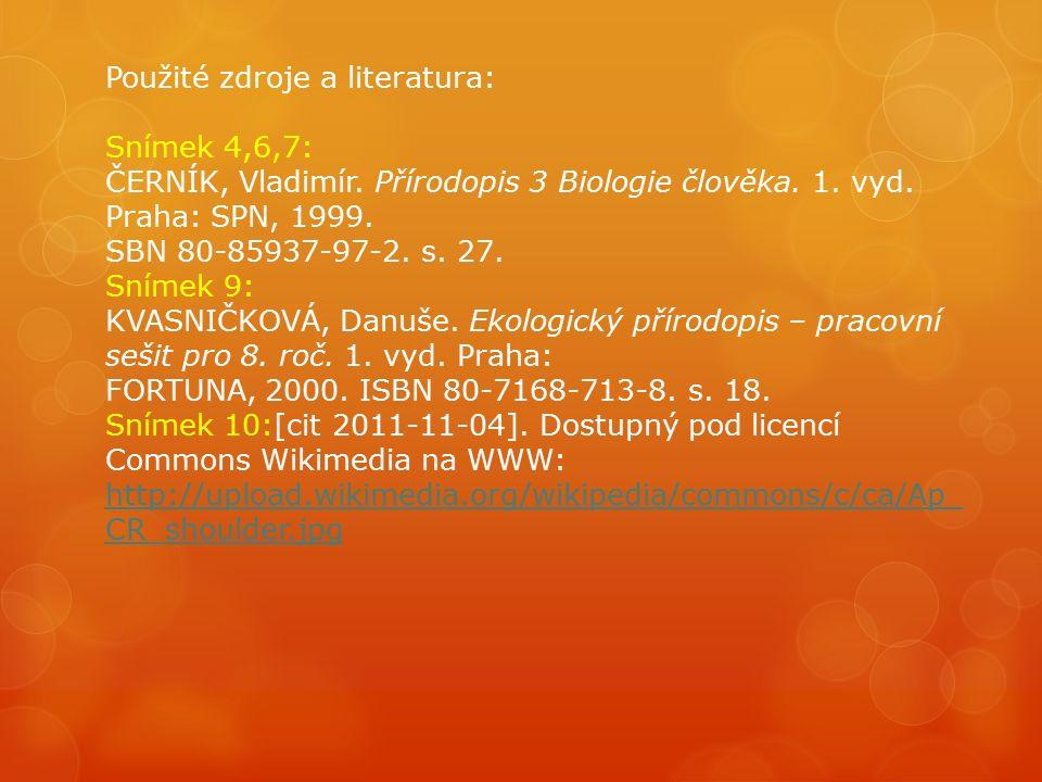 Použité zdroje a literatura: Snímek 4,6,7: ČERNÍK, Vladimír. Přírodopis 3 Biologie člověka. 1. vyd. Praha: SPN, 1999. SBN 80-85937-97-2. s. 27. Snímek