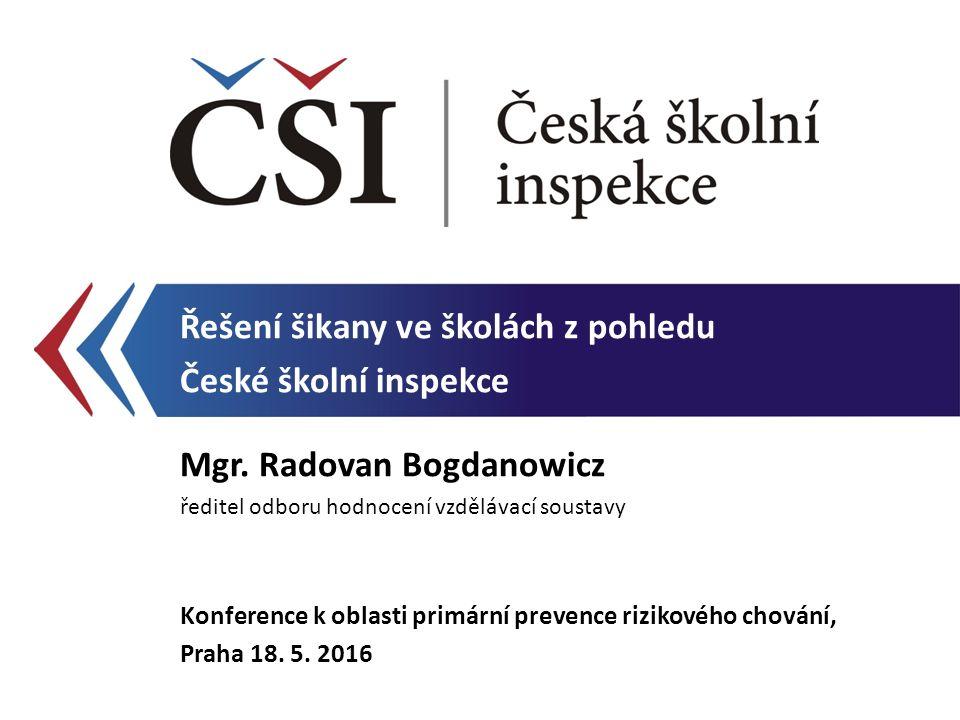 Řešení šikany ve školách z pohledu České školní inspekce Mgr.