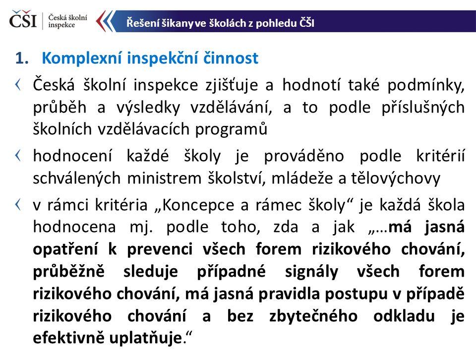 """1.Komplexní inspekční činnost Česká školní inspekce zjišťuje a hodnotí také podmínky, průběh a výsledky vzdělávání, a to podle příslušných školních vzdělávacích programů hodnocení každé školy je prováděno podle kritérií schválených ministrem školství, mládeže a tělovýchovy v rámci kritéria """"Koncepce a rámec školy je každá škola hodnocena mj."""
