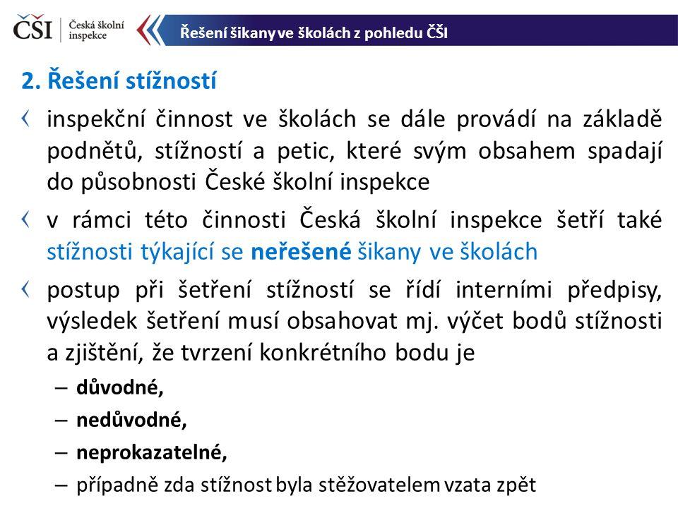 2. Řešení stížností inspekční činnost ve školách se dále provádí na základě podnětů, stížností a petic, které svým obsahem spadají do působnosti České