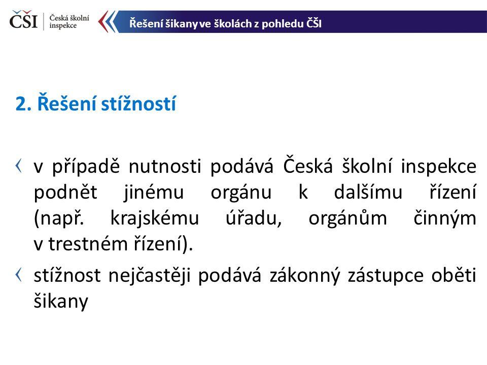 2. Řešení stížností v případě nutnosti podává Česká školní inspekce podnět jinému orgánu k dalšímu řízení (např. krajskému úřadu, orgánům činným v tre