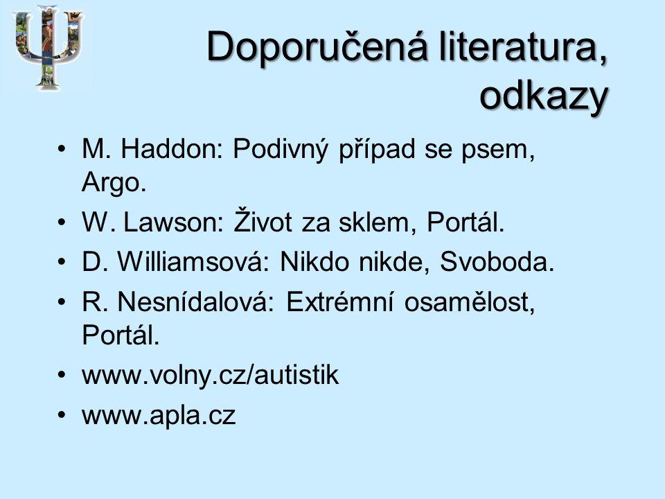 Doporučená literatura, odkazy M. Haddon: Podivný případ se psem, Argo.