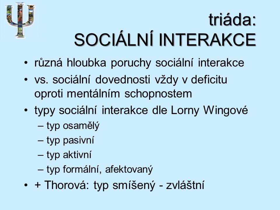triáda: SOCIÁLNÍ INTERAKCE různá hloubka poruchy sociální interakce vs.