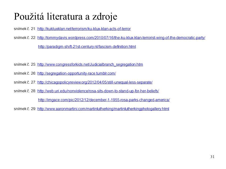 Použitá literatura a zdroje snímek č.