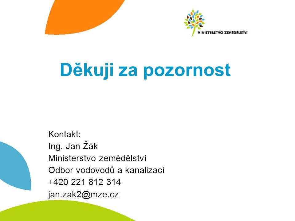 Děkuji za pozornost Kontakt: Ing. Jan Žák Ministerstvo zemědělství Odbor vodovodů a kanalizací +420 221 812 314 jan.zak2@mze.cz