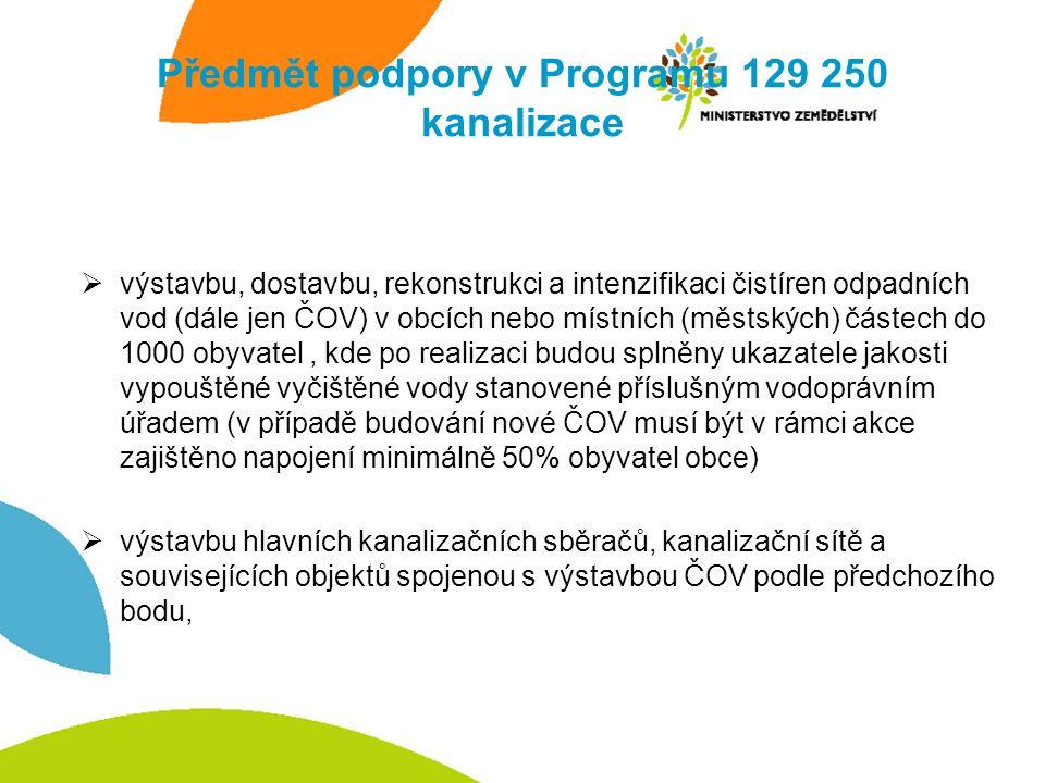 Předmět podpory v Programu 129 250 kanalizace  výstavbu, dostavbu, rekonstrukci a intenzifikaci čistíren odpadních vod (dále jen ČOV) v obcích nebo místních (městských) částech do 1000 obyvatel, kde po realizaci budou splněny ukazatele jakosti vypouštěné vyčištěné vody stanovené příslušným vodoprávním úřadem (v případě budování nové ČOV musí být v rámci akce zajištěno napojení minimálně 50% obyvatel obce)  výstavbu hlavních kanalizačních sběračů, kanalizační sítě a souvisejících objektů spojenou s výstavbou ČOV podle předchozího bodu,