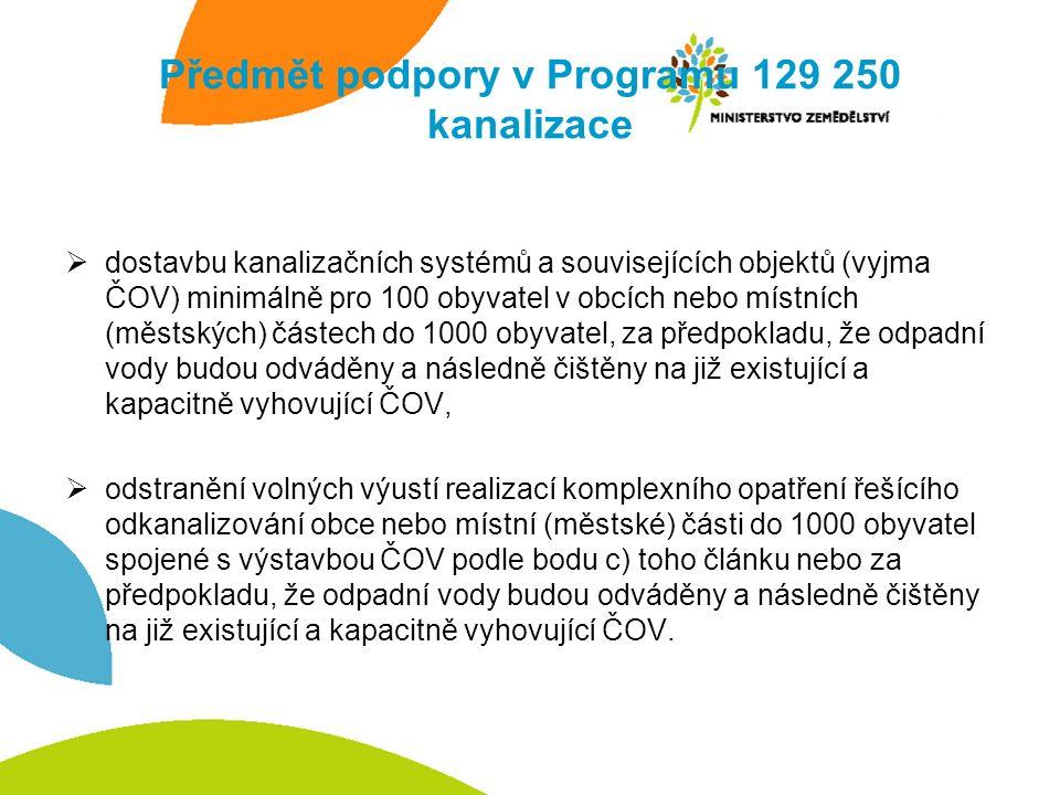 Předmět podpory v Programu 129 250 kanalizace  dostavbu kanalizačních systémů a souvisejících objektů (vyjma ČOV) minimálně pro 100 obyvatel v obcích