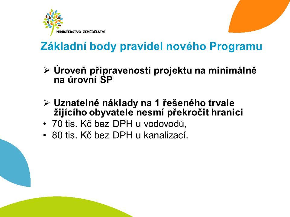 Základní body pravidel nového Programu  Úroveň připravenosti projektu na minimálně na úrovní SP  Uznatelné náklady na 1 řešeného trvale žijícího oby