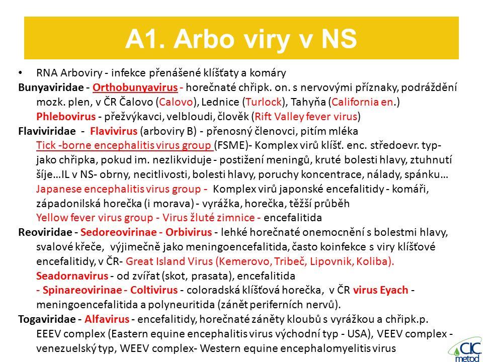 RNA Arboviry - infekce přenášené klíšťaty a komáry Bunyaviridae - Orthobunyavirus - horečnaté chřipk.