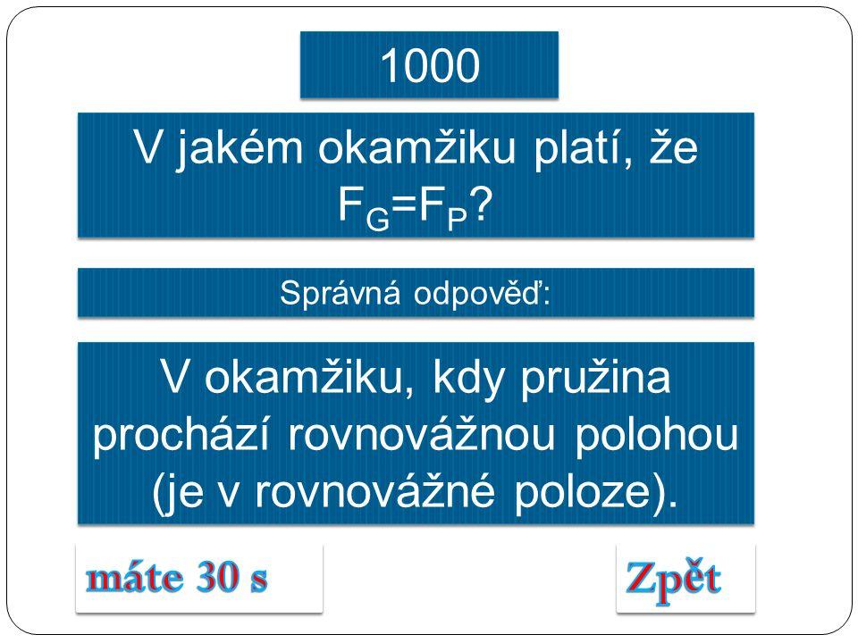 V jakém okamžiku platí, že F G =F P .