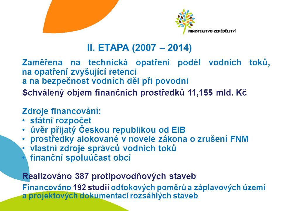 II. ETAPA (2007 – 2014) Zaměřena na technická opatření podél vodních toků, na opatření zvyšující retenci a na bezpečnost vodních děl při povodni Schvá