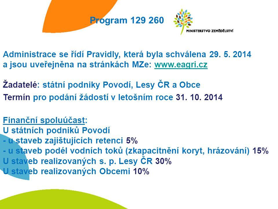 Program 129 260 Administrace se řídí Pravidly, která byla schválena 29.