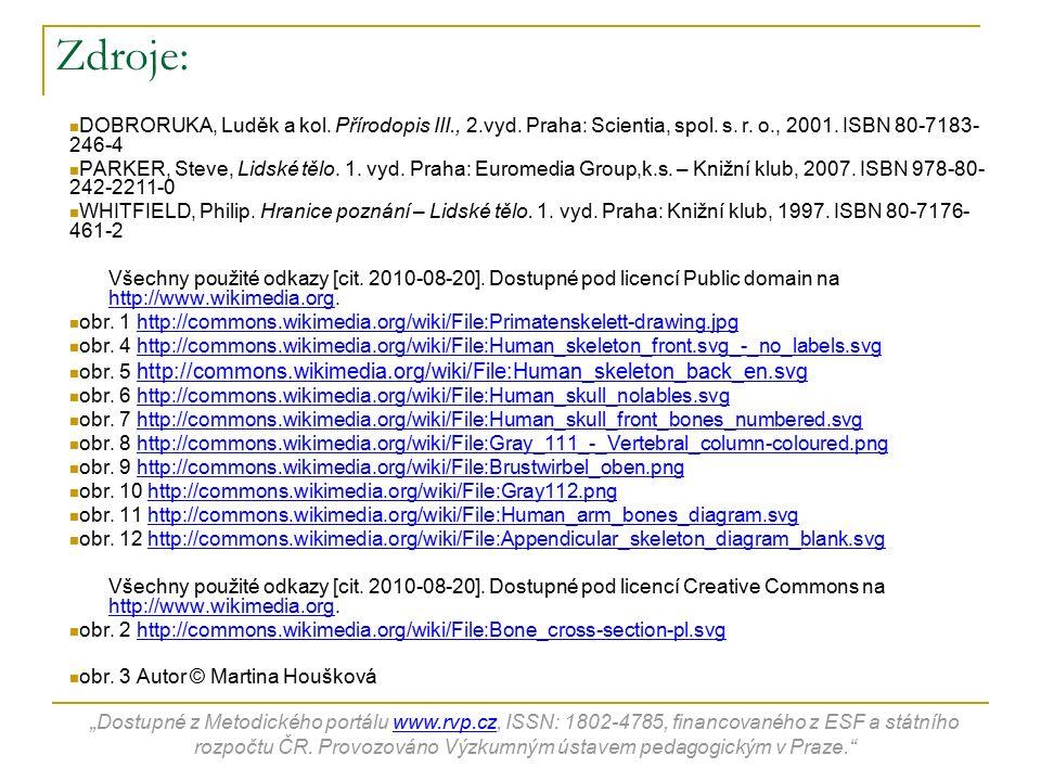 Zdroje: DOBRORUKA, Luděk a kol. Přírodopis III., 2.vyd. Praha: Scientia, spol. s. r. o., 2001. ISBN 80-7183- 246-4 PARKER, Steve, Lidské tělo. 1. vyd.