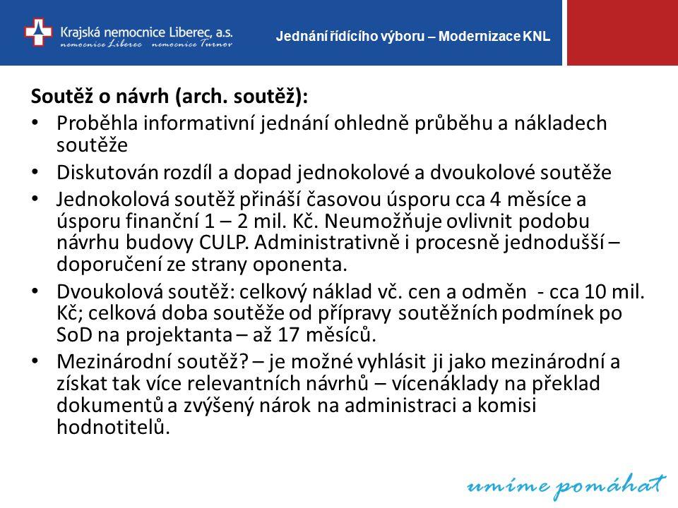 Jednání řídícího výboru – Modernizace KNL Poptávkové řízení – administrátor architektonické soutěže: Zajištěny vzorové dokumenty ZD a SoD.