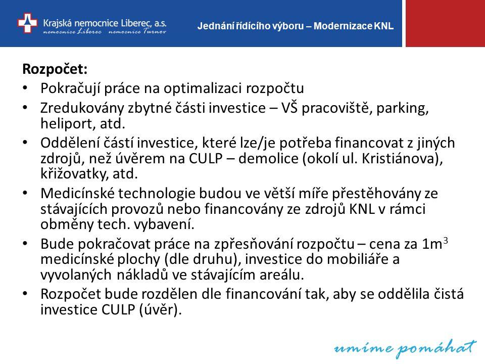 Jednání řídícího výboru – Modernizace KNL Rozpočet: Pokračují práce na optimalizaci rozpočtu Zredukovány zbytné části investice – VŠ pracoviště, parking, heliport, atd.
