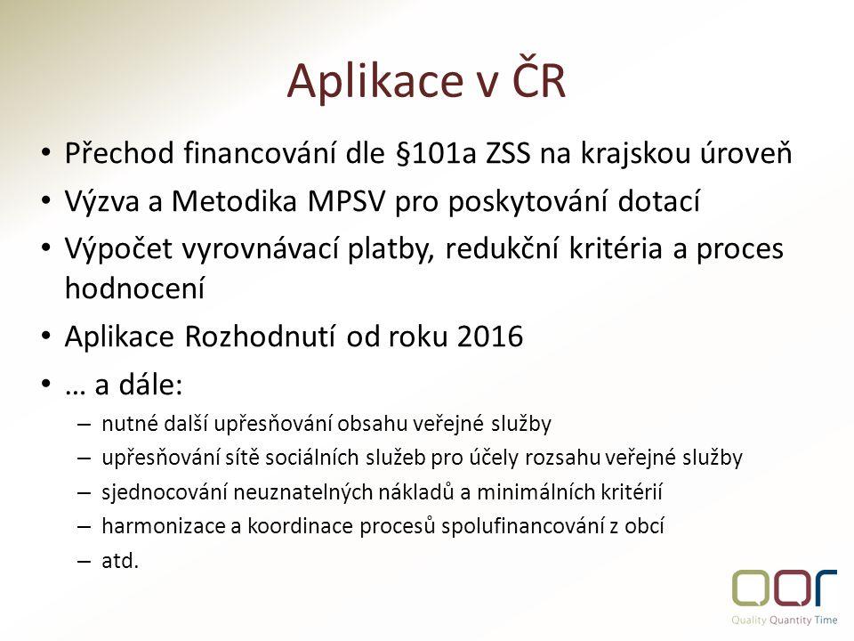 Aplikace v ČR Přechod financování dle §101a ZSS na krajskou úroveň Výzva a Metodika MPSV pro poskytování dotací Výpočet vyrovnávací platby, redukční kritéria a proces hodnocení Aplikace Rozhodnutí od roku 2016 … a dále: – nutné další upřesňování obsahu veřejné služby – upřesňování sítě sociálních služeb pro účely rozsahu veřejné služby – sjednocování neuznatelných nákladů a minimálních kritérií – harmonizace a koordinace procesů spolufinancování z obcí – atd.