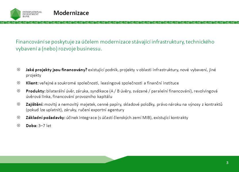 5 Modernizace Jaké projekty jsou financovány? existující podnik, projekty v oblasti infrastruktury, nové vybavení, jiné projekty Klient: veřejné a sou