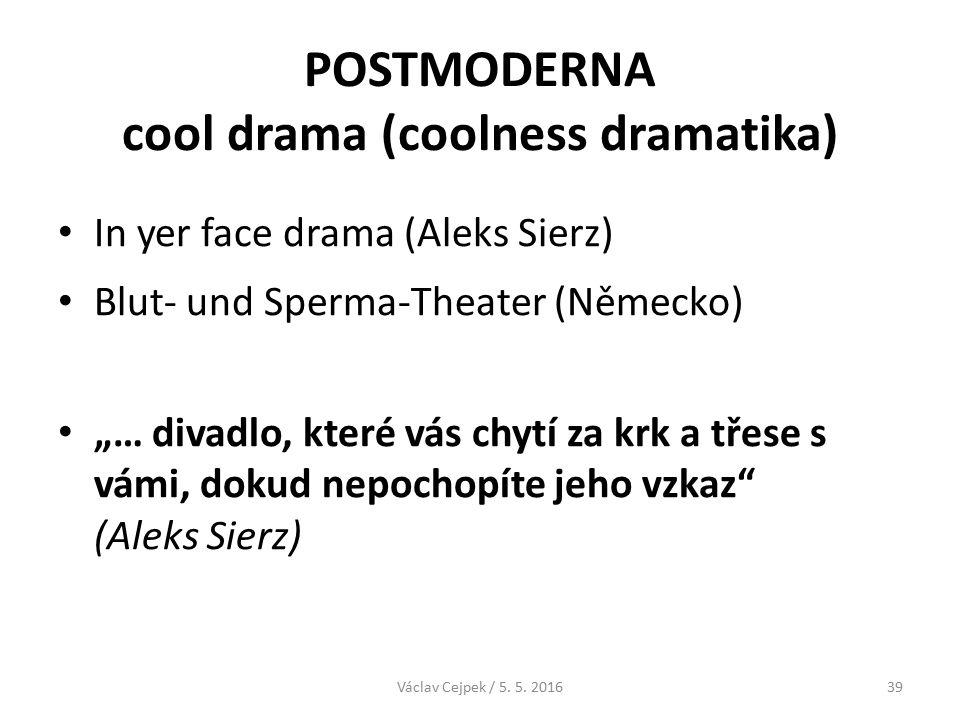 """POSTMODERNA cool drama (coolness dramatika) In yer face drama (Aleks Sierz) Blut- und Sperma-Theater (Německo) """"… divadlo, které vás chytí za krk a třese s vámi, dokud nepochopíte jeho vzkaz (Aleks Sierz) Václav Cejpek / 5."""