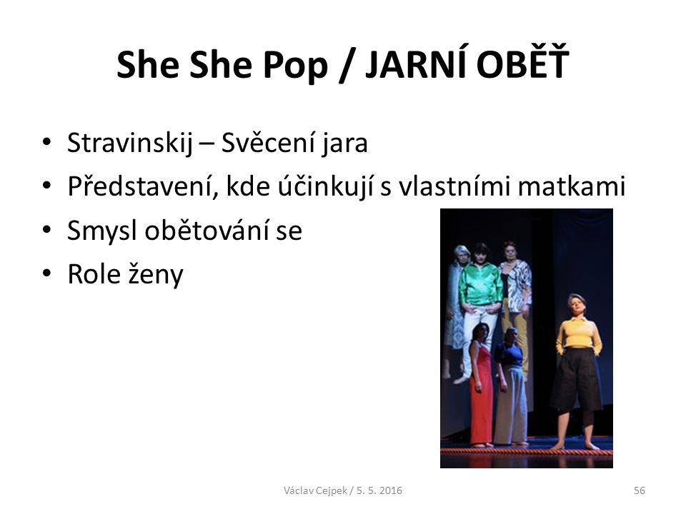 She She Pop / JARNÍ OBĚŤ Stravinskij – Svěcení jara Představení, kde účinkují s vlastními matkami Smysl obětování se Role ženy Václav Cejpek / 5.