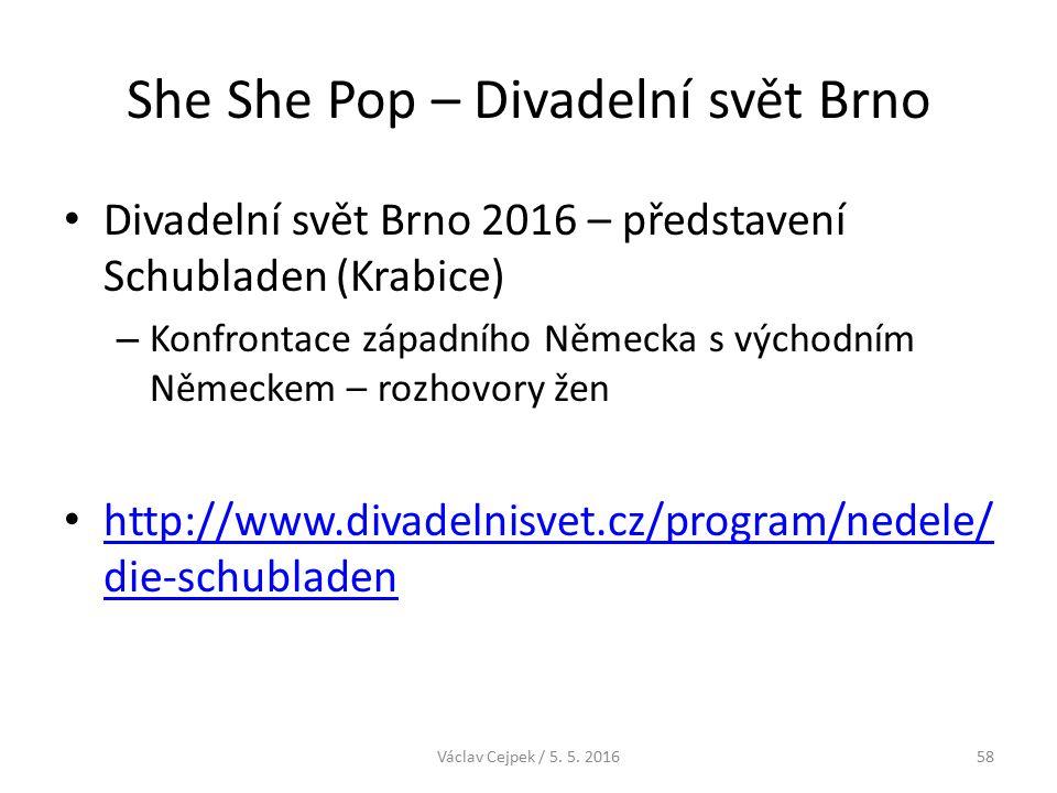 She She Pop – Divadelní svět Brno Divadelní svět Brno 2016 – představení Schubladen (Krabice) – Konfrontace západního Německa s východním Německem – rozhovory žen http://www.divadelnisvet.cz/program/nedele/ die-schubladen http://www.divadelnisvet.cz/program/nedele/ die-schubladen Václav Cejpek / 5.