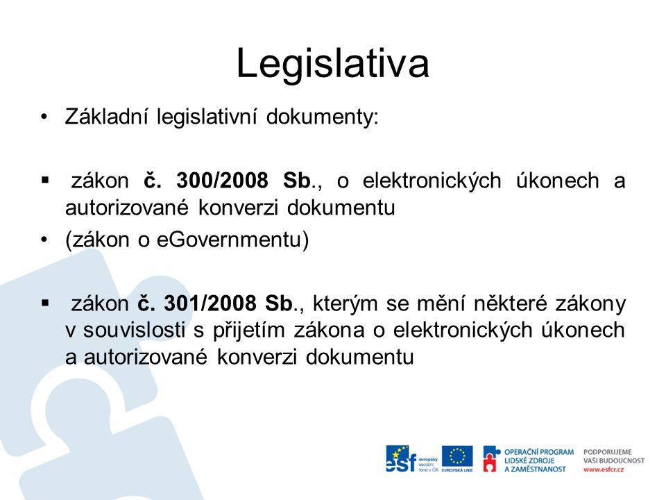 Legislativa Základní legislativní dokumenty:  zákon č.