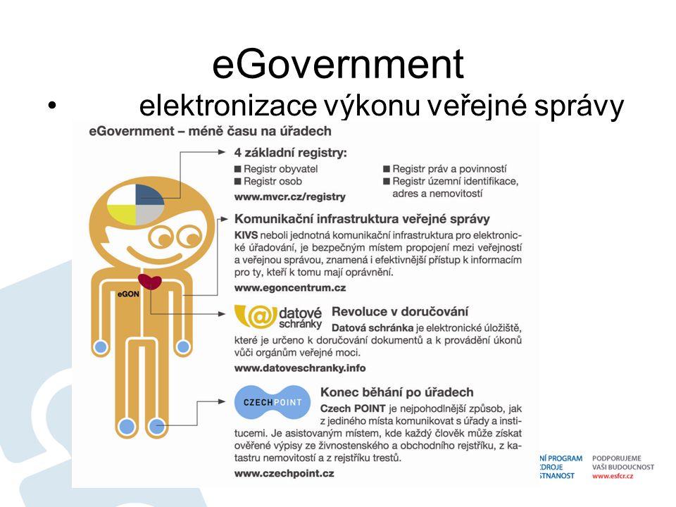 Zákon o eGovernmentu Zákon o eGovernmentu (účinnost od 1.7.2009) zavádí:  Povinnou formu elektronické komunikace mezi orgány veřejné moci prostřednictvím datových schránek  Povinnou formu elektronického doručování dokumentů orgánů veřejné moci fyzickým a právnickým osobám, které mají zřízenu a zpřístupněnu datovou schránku  Dobrovolnou formu činění úkonů fyzických a právnických osob, které mají zřízenu a zpřístupněnu datovou schránku vůči orgánům veřejné moci  Autorizovanou konverzi dokumentů