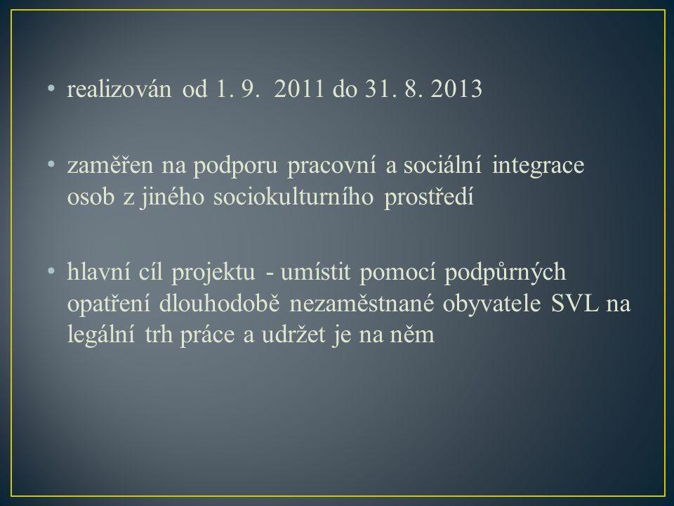 realizován od 1. 9. 2011 do 31. 8. 2013 zaměřen na podporu pracovní a sociální integrace osob z jiného sociokulturního prostředí hlavní cíl projektu -