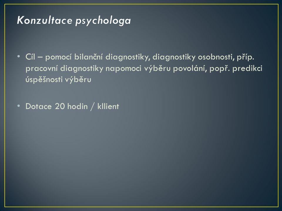 Cíl – pomocí bilanční diagnostiky, diagnostiky osobnosti, příp. pracovní diagnostiky napomoci výběru povolání, popř. predikci úspěšnosti výběru Dotace