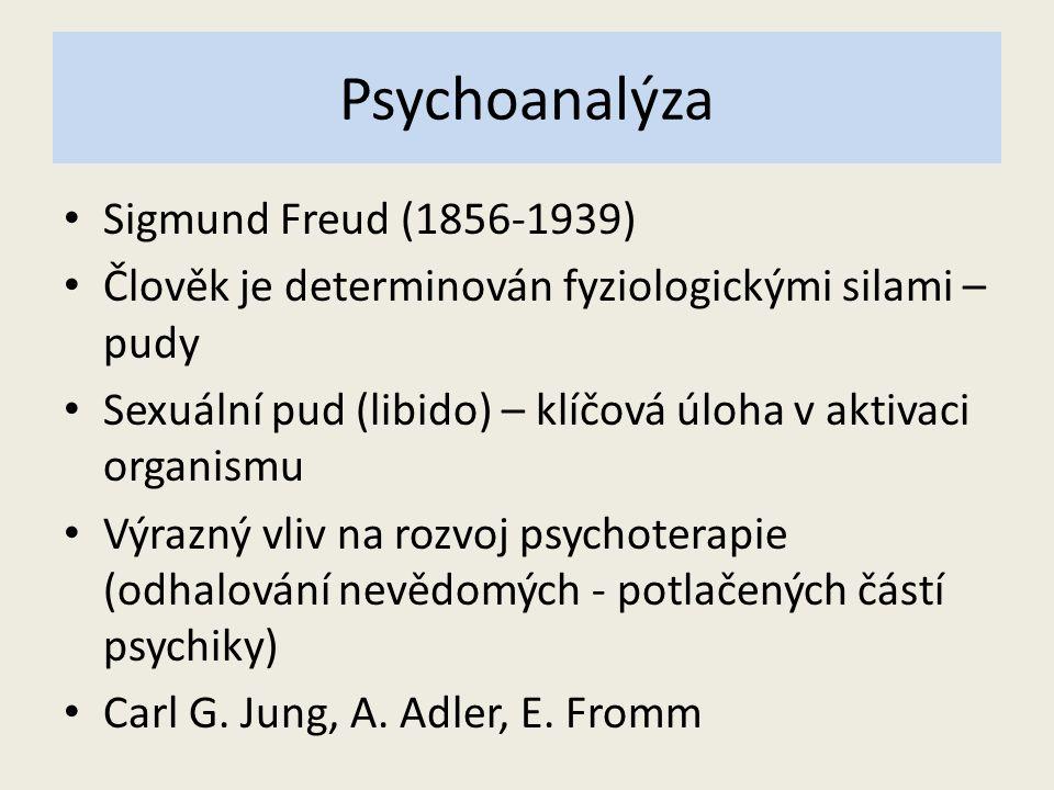Psychoanalýza Sigmund Freud (1856-1939) Člověk je determinován fyziologickými silami – pudy Sexuální pud (libido) – klíčová úloha v aktivaci organismu Výrazný vliv na rozvoj psychoterapie (odhalování nevědomých - potlačených částí psychiky) Carl G.