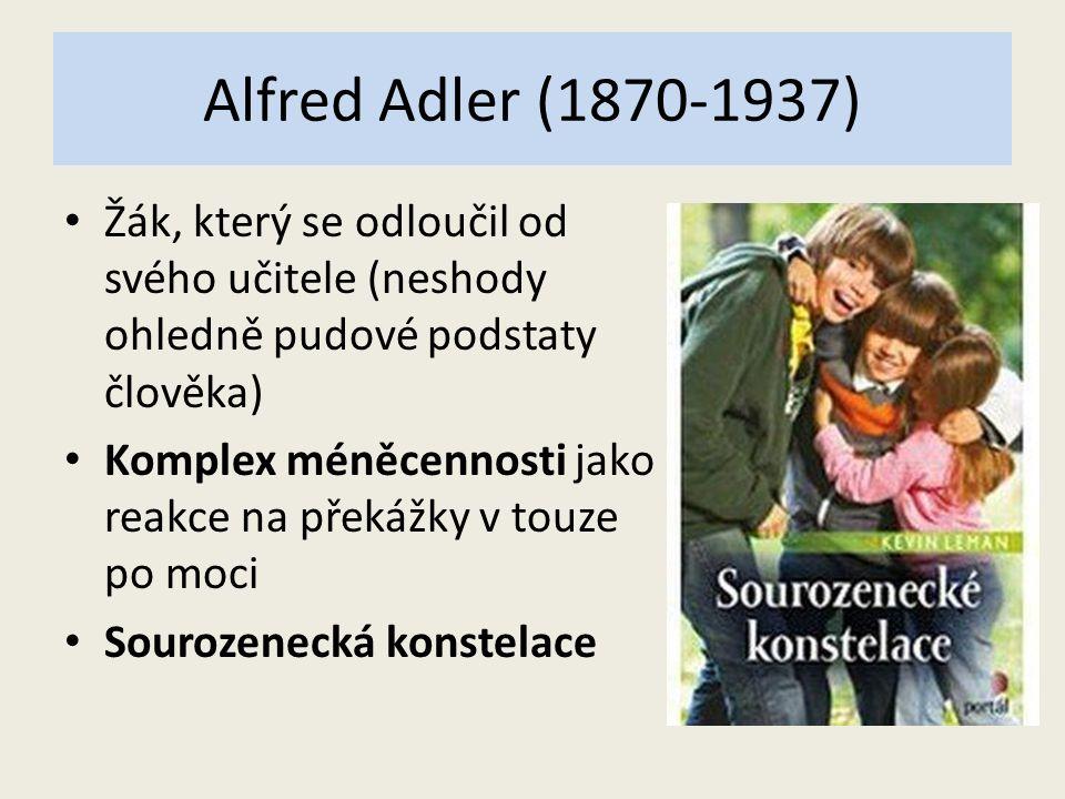 Alfred Adler (1870-1937) Žák, který se odloučil od svého učitele (neshody ohledně pudové podstaty člověka) Komplex méněcennosti jako reakce na překážky v touze po moci Sourozenecká konstelace