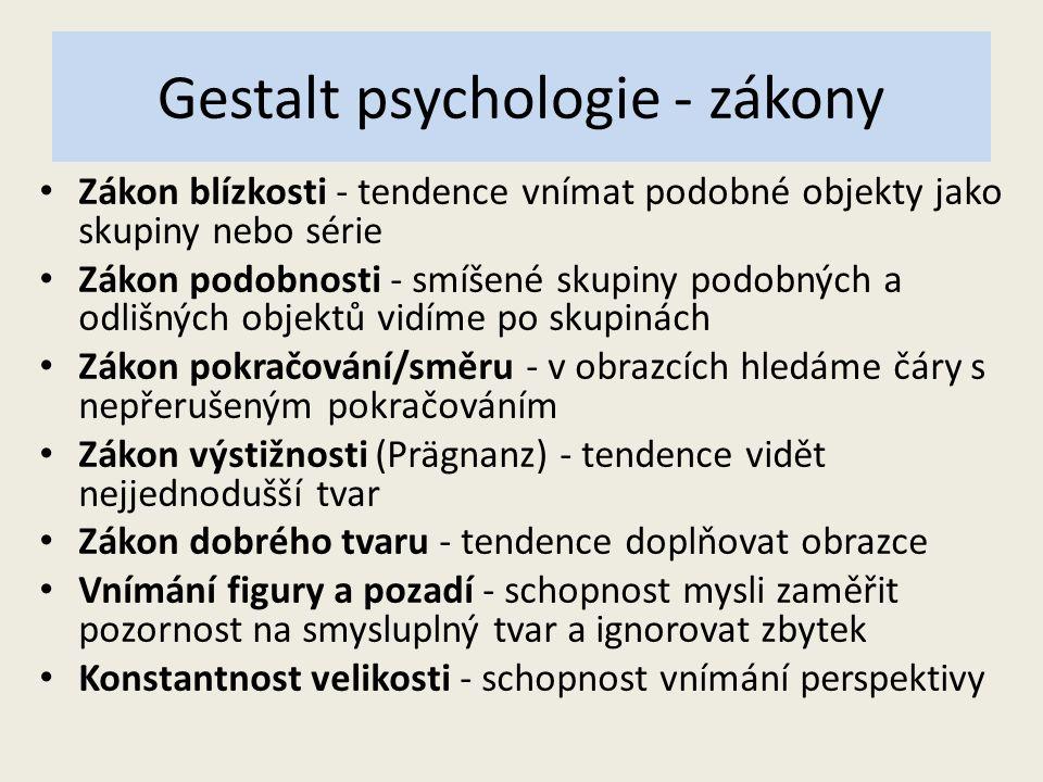 Gestalt psychologie - zákony Zákon blízkosti - tendence vnímat podobné objekty jako skupiny nebo série Zákon podobnosti - smíšené skupiny podobných a odlišných objektů vidíme po skupinách Zákon pokračování/směru - v obrazcích hledáme čáry s nepřerušeným pokračováním Zákon výstižnosti (Prägnanz) - tendence vidět nejjednodušší tvar Zákon dobrého tvaru - tendence doplňovat obrazce Vnímání figury a pozadí - schopnost mysli zaměřit pozornost na smysluplný tvar a ignorovat zbytek Konstantnost velikosti - schopnost vnímání perspektivy