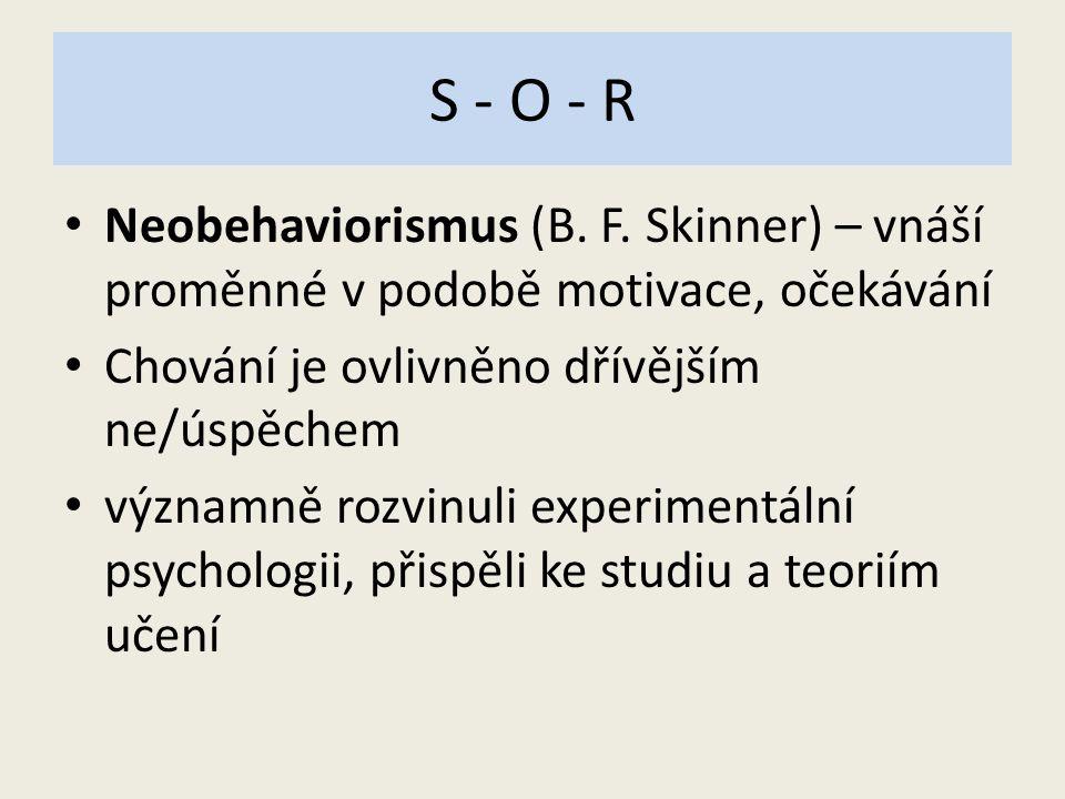 S - O - R Neobehaviorismus (B. F. Skinner) – vnáší proměnné v podobě motivace, očekávání Chování je ovlivněno dřívějším ne/úspěchem významně rozvinuli