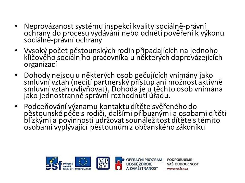 Neprovázanost systému inspekcí kvality sociálně-právní ochrany do procesu vydávání nebo odnětí pověření k výkonu sociálně-právní ochrany Vysoký počet