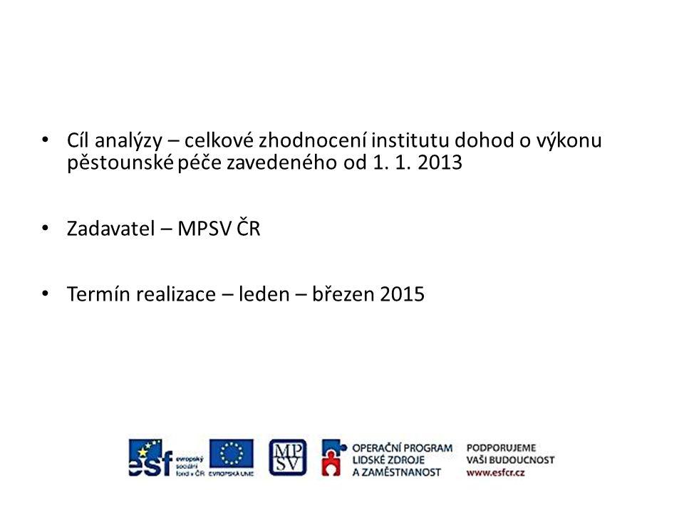Cíl analýzy – celkové zhodnocení institutu dohod o výkonu pěstounské péče zavedeného od 1. 1. 2013 Zadavatel – MPSV ČR Termín realizace – leden – břez