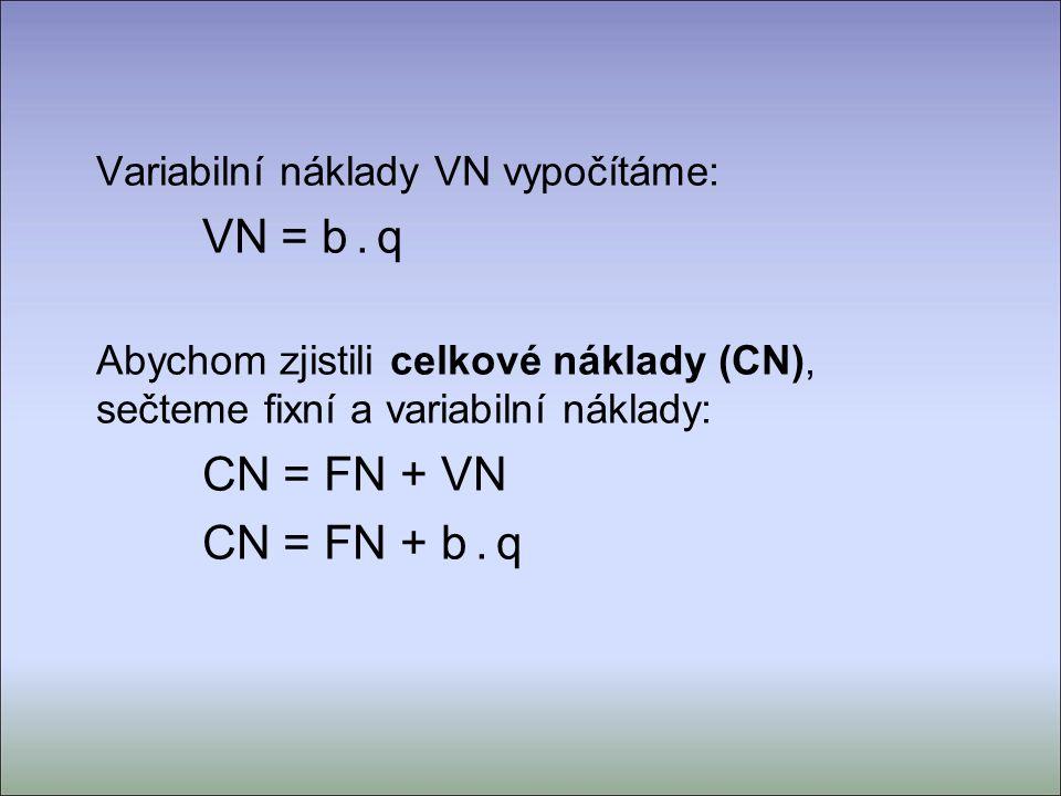 Variabilní náklady VN vypočítáme: VN = b.