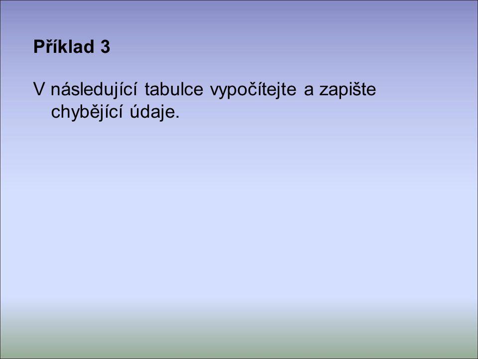 Příklad 3 V následující tabulce vypočítejte a zapište chybějící údaje.