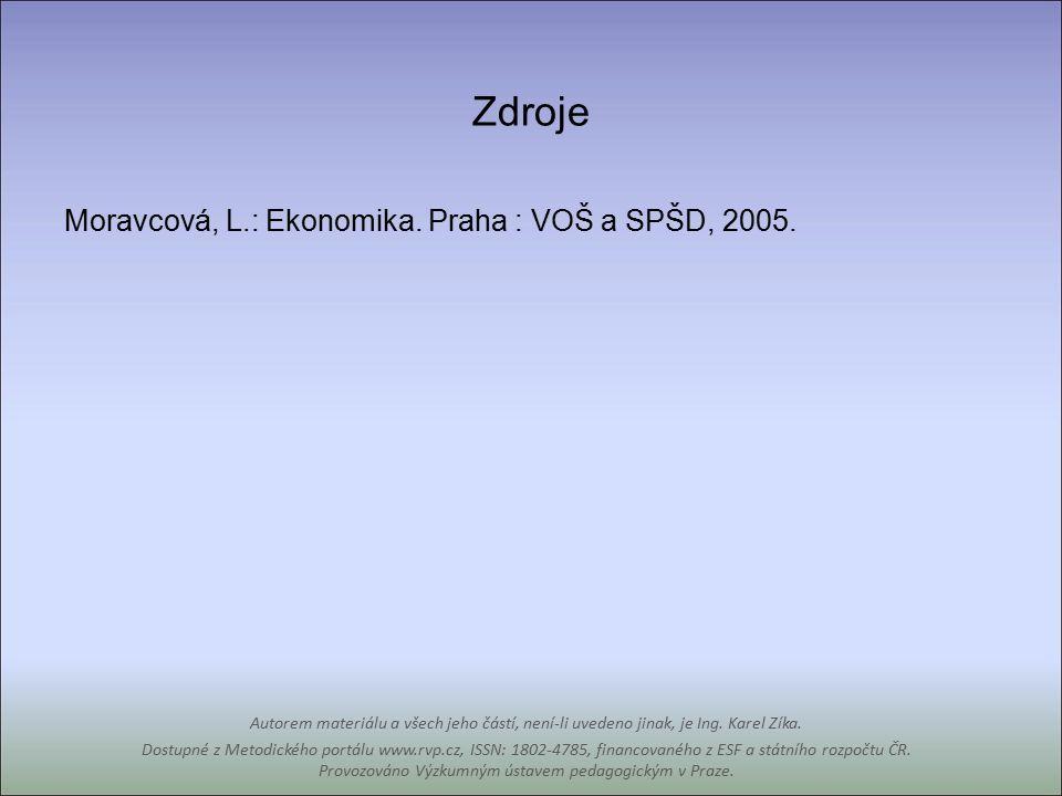Zdroje Moravcová, L.: Ekonomika. Praha : VOŠ a SPŠD, 2005.