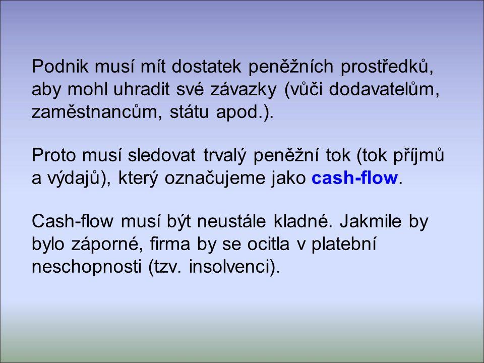 Podnik tok příjmů tok výdajů Podnik tok příjmů tok výdajů cash-flow je kladný – v pořádku cash-flow je záporný – insolvence