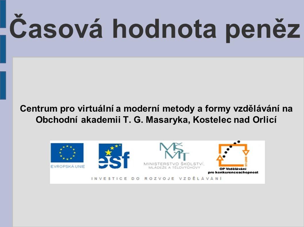 Časová hodnota peněz Centrum pro virtuální a moderní metody a formy vzdělávání na Obchodní akademii T.