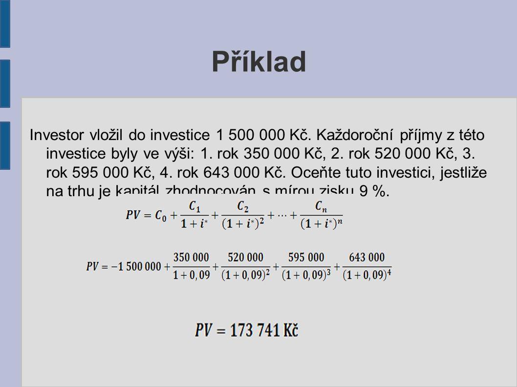 Příklad Investor vložil do investice 1 500 000 Kč.