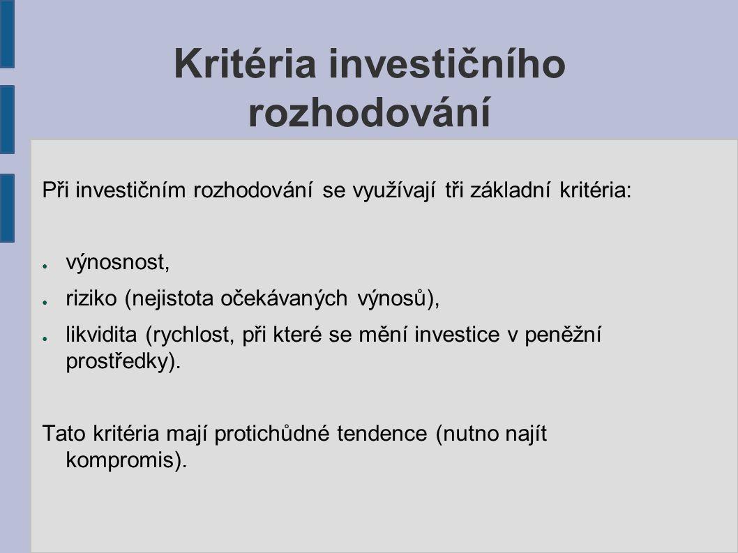 Kritéria investičního rozhodování Při investičním rozhodování se využívají tři základní kritéria: ● výnosnost, ● riziko (nejistota očekávaných výnosů), ● likvidita (rychlost, při které se mění investice v peněžní prostředky).